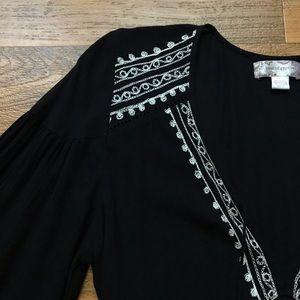 Band of Gypsies Dresses - Band of Gypsies Black Mini Dress Embroidery Tassel